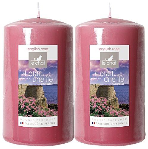 Le Chat 1189628 Lot de 2 Bougies cylindriques Grands Modèles colorées & parfumées GUERNESEY - Vieux Rose/Parfum English Rose