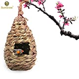 #8: Hand-Woven Teardrop Shaped Grass Bird Hut by SunGrow - 100% Natural Fiber - Cozy resting place for birds - Provides shelter from cold weather - Bird hideaway from predators - Ideal for Finch & Canary
