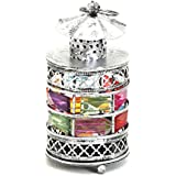 Aapno Rajasthan Rustic Silver Tone Gun Metal Tea Light Holder With Color Stones