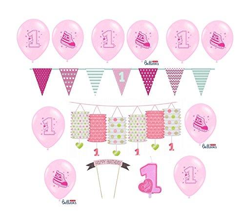 Feste Feiern Zum Ersten 1. Geburtstag Mädchen I 14 Teile Deko zur Kinder-Party Rosa Weiß Bunt I Alles Gute Kleine Prinzessin