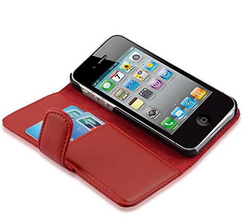 Cadorabo - Etui Housse pour Apple iPhone 4 / 4S / 4G - Coque Case Cover Bumper Portefeuille (avec fentes pour cartes) en ALBÂTRE BLANC ROUGE CERISE