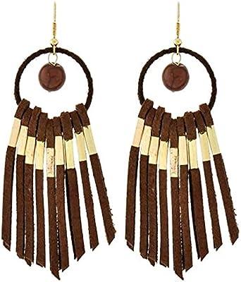 Boho Hippie larga ligera Pendientes Perla Piedra ante piel marrón oro adornos 9cm de largo