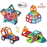 Bek 60 PCS Magnetic Blocks Toys Educational Building Blocks Stack Toys Set With Wheel