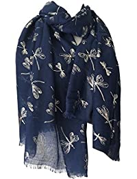 Scarf Navy Blue with Silver Dragonfly Print, Ladies Dark Blue Wrap Shawl , Wedding