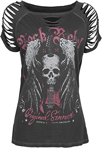 Rock Rebel by EMP Winged Skull Slash Shirt Maglia donna grigio XXL