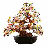 CrazySell 6 Inch Feng Shui Aventurine Quartz Gem Stone Money Tree Natural Green Crystal Money Tree Office Living Room Good Luck Decoration (Multicolor)
