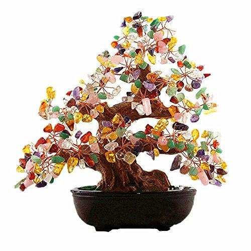 Feng-Shui-Geldbaum von CrazySell, 15 cm, Aventurin, Quarz-Edelstein, grüner Kristall, für Büro, Wohnzimmer, Glücksbringer, Stein, mehrfarbig