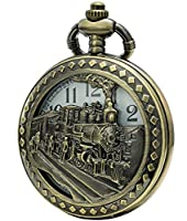 SEWOR Retro Hollowed Quartz Pocket Watch White Dial Bronze Case Smooth Back Pendant Necklace With Two Type Chain(Leather+Metal) (Steam Train)