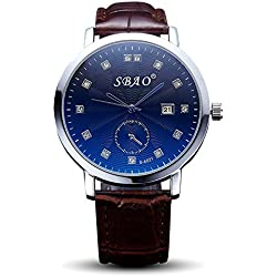 Men, quartz watch, fashion, casual, personality, PU leather, M0203