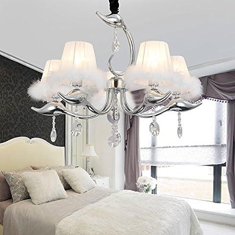Lámparas de cristal simple y elegante 5 simples lámparas de cristal europeos araña de cristal dormitorio salón restaurante araña de
