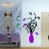 Alloet DIY Retro Room TV Decor Vase Flower Baum Kristall Acryl 3D Wandtattoo Deep Purple