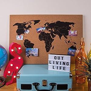 Invero Tabla de Corcho Mapa del Mundo Colgante de Pared Decoración Memo Junta Ideal para Oficinas, Dormitorios, Salones, Cocina, Educación y más – Incluye Push Pins y Fijaciones de Pared – 60 x 40 cm