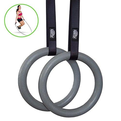Elite Sportz anelli ginnastica - Crossfit anelli palestra - alta qualita' nessuno slittamento fibbie - bonus corda per saltare