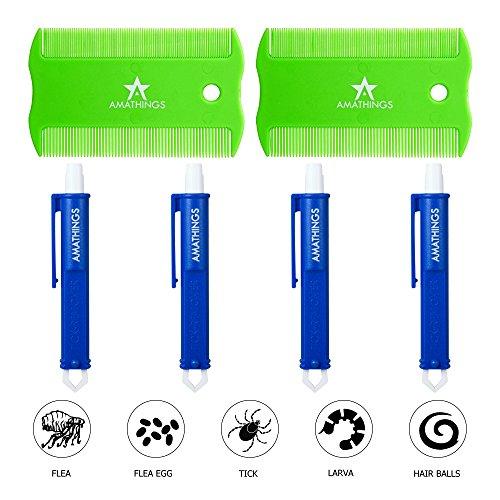 AMATHINGS 6er Fellpflege Set Für Hunde Und Katzen mit 4 Zecken-Zangen/Zeckenpinzette und 2 Stück Nissenkamm/Zeckenkamm 4 Zangen (Blau) + 2 Kämme