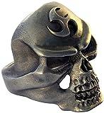 Bico Raw, anello a forma di teschio Triad Skull in peltro, la potenza del tre (ARR5), Peltro, 22, cod. ARR5-S10