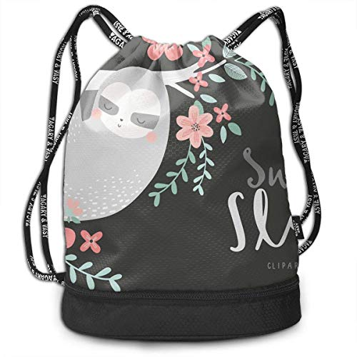 Bolsas de cuerdas,Bolsas de gimnasia,Mochilas tipo Casual, Funny Dance Gift Unisex Drawstring Fashion Beam Backpack Sweet Sloths Print Backpack Travel Gym Tote Cosmetic Bag
