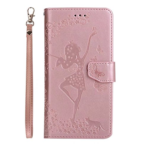 Abnehmbare 2 in 1 Crazy Horse Texture PU Ledertasche, Fairy Girl Embossed Pattern Flip Stand Case Tasche mit Lanyard & Card Cash Slots für Huawei Y6 II (2. Generation) ( Color : Rosegold ) Rosegold