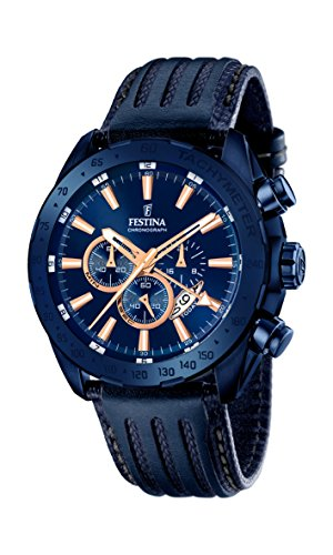 Festina Men's Quartz Watch with Blue Dial Chronograph Display and Blue Leather Strap F16898/1