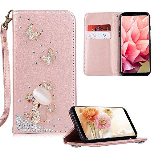 Xifanzistore Brieftasche PU Ledertasche Hülle für Huawei P Smart 2019 Rose Gold Flip Case Strass 3D Bling Bling Entwurf Süße Kätzchen Bookstyle Lederhülle Handytaschen für Huawei P Smart 2019