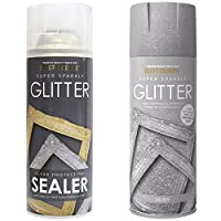 Rust-Oleum 400ml Silver Super Sparkly Glitter Spray Paint with Clear Protective Sealer Spray - 400ml