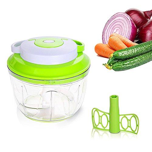 Umiwe Manuelle Lebensmittel Chopper, Mini Handgehaltene Küchenmaschine / Mixer mit 3 Schneiden Schneidklingen für Zwiebeln Knoblauch Gemüse (1000ml, Grün)