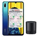 Huawei P smart 2019 (Dual-Sim Smartphone, 6,21 Zoll, 64GB interner Speicher, 3GB RAM, Android 9.0) Aurora Blue mit gratis 16 GB Speicherkarte + Bluetooth MiniSpeaker CM510, schwarz