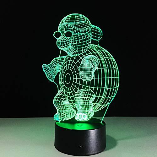 Schildkröte Mit Sonnenbrille 3D Led Nachtlicht Lampe 7 Farben Ändern Nachtlicht Für Kinder Gradient Neuheit Beleuchtung