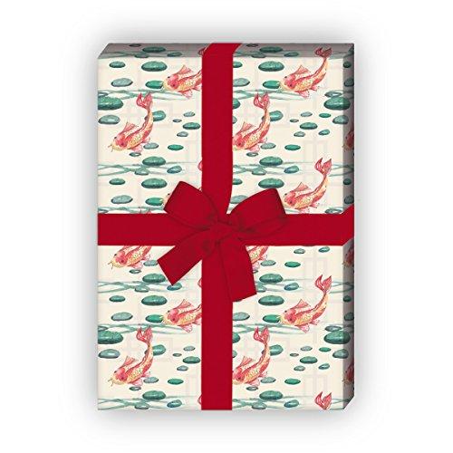 Chinesisch anmutendes Geschenkpapier Set (4 Bogen)   Dekorpapier mit Fischen im Seerosen Teich für tolle Geschenk Verpackung zur Taufe, Geburt, Ostern, Geburtstag, Hochzeit, Weihnachten u.v.m. 32 x 48cm, auf beige (Seerosen Fische,)