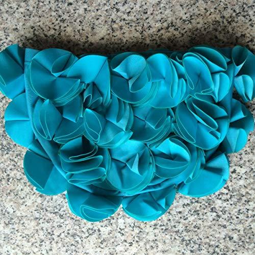 Nosii Frauen-Damen-super Dehnbare Blumenblumen-Blumenblatt-Schwimmen-Kappe, die Hut-Erwachsenen badet (Color : Acid Blue)