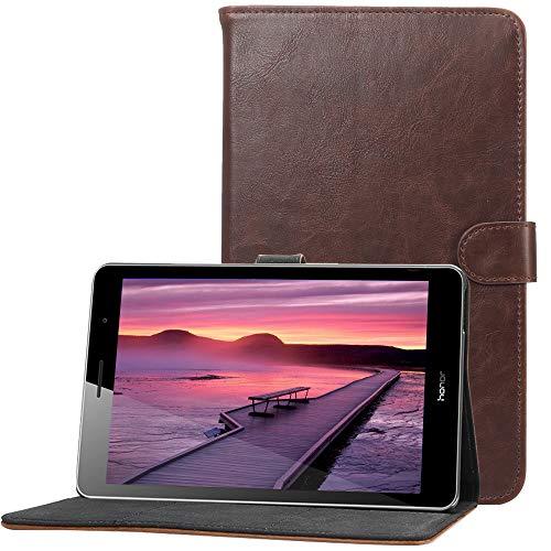 CLM-Tech kompatibel mit Huawei MediaPad T3 8.0 Zoll Tablet-PC Tasche im eleganten Kunstleder, Hülle Etui mit Stand und Kartenfächern, Dunkelbraun - Media Stand