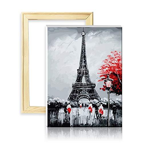 ufengke Eiffelturm 5D Diamant Malerei Set Mosaik DIY Diamond Painting nach Zahlen Kreuzstich Stickbilder, mit Holzkeilrahmen, Design 25x35cm (Kreuzstich-frankreich)