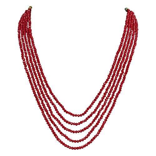 DS opaque Beads Five Layer Party wear Necklace with Earrings for