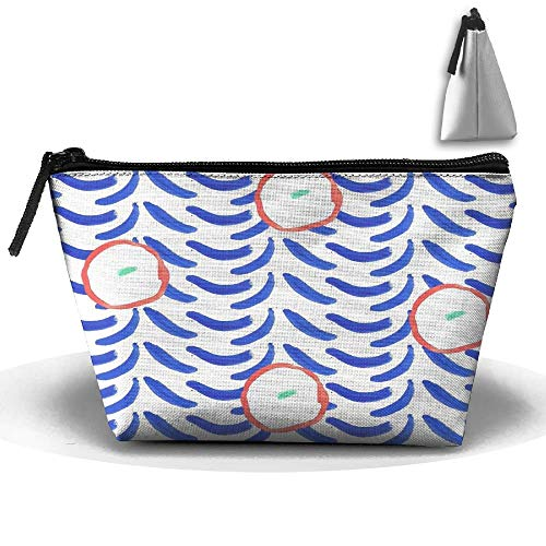 Abstract Orange and Paint Strokes Personality Portable Women Trapezoid Travel Bag Cosmetic Bag Receive Bag Plastic Inner Bucket