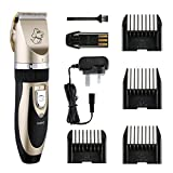 Pet Grooming Clippers, Topop 4 Comb Guides Rechargeable Cordless Pet Hair Shaver Electric Clippers Grooming Trimmer Kit Set with Cleaning Brush for Pet Dogs and Cats (Low Noise Low Vibration )