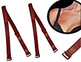 Unbekannt 2 Stück - BH Träger - rot - 10 mm / 1 cm breit bis 45 cm LÄNGE - aus Baumwolle mit Metall Verschluß - auch für Bikini Halter abnehmbar für BH Push UP Bhträger..