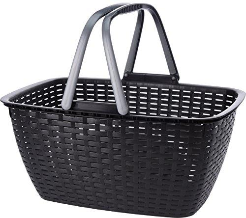 hibuy Schicker Einkaufskorb aus Kunststoff, 23Liter Inhalt, Leicht und Stabil. 3 Stück, schwarz