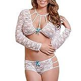 SHOBDW Mujer sexy lencería mono vendaje bowknot ropa interior mono camisón día de San Valentín presente (Negro, L)