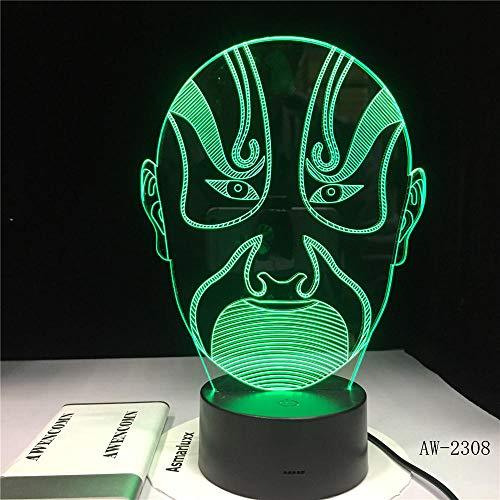 Peking Opera Männliches Gesicht Bild Buch Touchment Control Farbe 3D Nacht Lampe Schreibtisch Licht Bunte Led 3D Vision Nacht Stimmung Atmosphäre Lichter