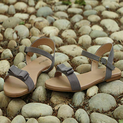 BK DREAM Women Flat Sandals with Ankle Strap (38) Grey