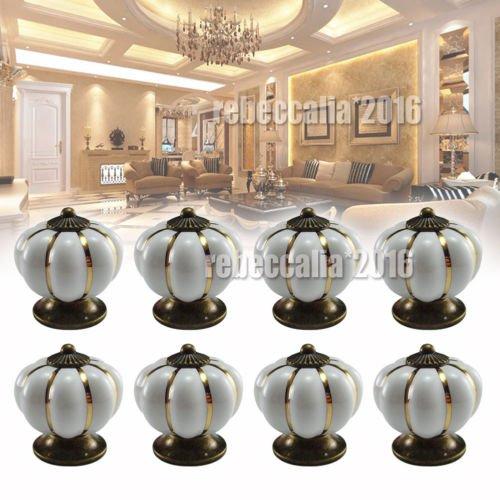 Preisvergleich Produktbild EMOTREE 8x Tür Schublade Schrank Kürbis Keramik Griff Möbelknöpfe Möbelknauf Knopf 40mm