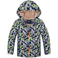 HuTuHu - Cortaviento Impermeable para Niñas Niños con Forro Polar Cálido Chaqueta Casual de Senderismo Esquí Grueso Abrigo Deportivo Niños - 10-11 Años