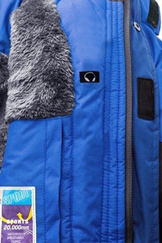 Wantdo Herren Wasserdicht Wanderjacke Winddicht Skijacke mit Fleecefutter Blau
