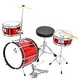 4 teiliges Kinder Drumset Schlagzeug in Rot-Metallic mit Bassdrum