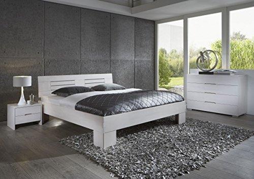 Dreams4Home Schlafzimmerkombination \'Modena\', Bett, Massivholz, Buche, 90, 100, 120, 140, 160, 180, 200x200 cm, weiß gebeizt, Liegefläche:180x200 cm