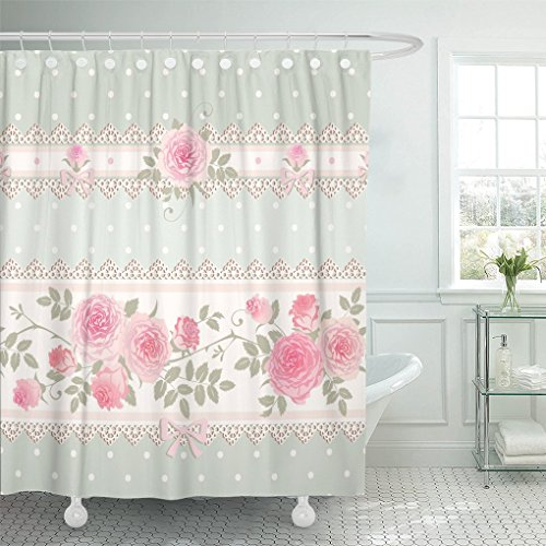 Box Doccia Shabby Chic.Aa0aa Shower Curtain Green Vintage Floral Polka Dot Pattern With Lace Bows And Pink Roses Shabby Chic Style Flower Shower Curtain 72 X 72 Inches