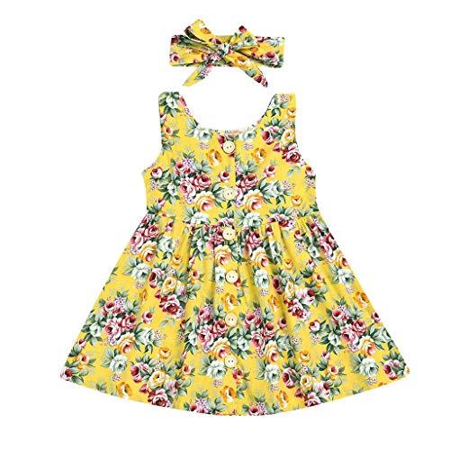 Baby Mädchen Kleid mit Blumen Bedruckte, KIMODO Kleinkind Ärmellos Urlaub Sommer Strandkleid Party Prinzessin Kleidung Outfit + Stirnband Set