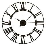 Reloj de Pared de 60cm de diámetro con números Romanos. Estructura metálica con Pintura epoxi Negra