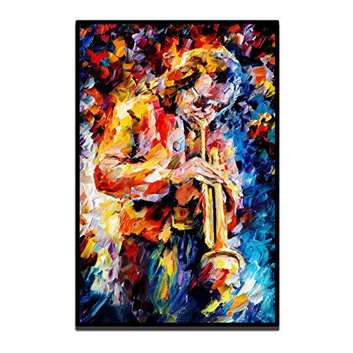dayanzai Europa Palette Gedruckt Auf Leinwand Malerei Wandkunst Jazz Musik Trompete Saxophon Guita Bild Home Decoration 60X90 cm Kein Rahmen (Musik Bilder Leinwand)