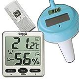 Funk Thermometer FT007 mit 1 Aussensensoren + Poolsensor Wassertemperatur XXL Display Hygrometer