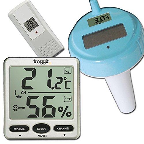 froggit Funk Thermometer FT007 mit 1 Aussensensoren + Poolsensor Wassertemperatur XXL Display Hygrometer